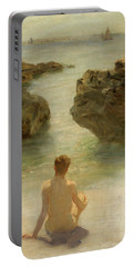 Portable Battery Charger featuring the painting Boy On A Beach, 1901 by Henry Scott Tuke