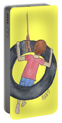Portable Battery Charger featuring the painting Boy On Swing 1 by Betsy Hackett