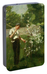 Portable Battery Charger featuring the painting Boy With A Grass Rake by Henry Scott Tuke