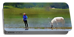 Portable Battery Charger featuring the photograph Boy With White Burro by John Kolenberg