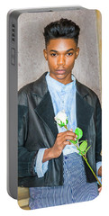 Boy With White Rose 15042618 Portable Battery Charger