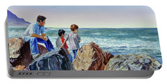 Boys And The Ocean Portable Battery Charger