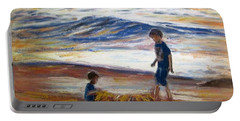 Boys Playing At The Beach Portable Battery Charger