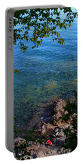 Boys Playing On Shore Rocks Portable Battery Charger