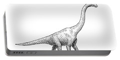 Brachiosaurus Black And White Dinosaur Drawing  Portable Battery Charger by Karen Whitworth