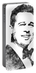 Brad Pitt Bw Portrait Portable Battery Charger by Mihaela Pater