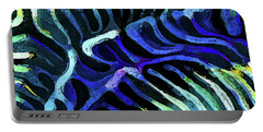 Brain Coral Abstract 3 In Blue Portable Battery Charger
