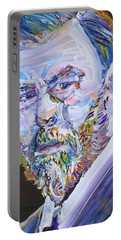 Portable Battery Charger featuring the painting Bram Stoker - Oil Portrait by Fabrizio Cassetta