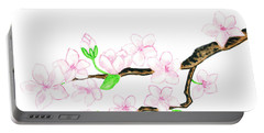 Branch With White Flowers Portable Battery Charger