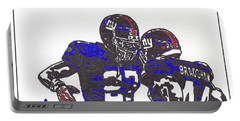 Portable Battery Charger featuring the drawing Brandon Jacobs And Ahmad Bradshaw by Jeremiah Colley