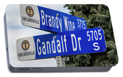 Portable Battery Charger featuring the photograph Brandywine And Gandalf Street Signs by Gary Whitton