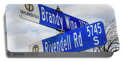 Brandywine And Rivendell Street Signs Portable Battery Charger by Gary Whitton