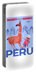 Braniff Airways Peru Child And Llama Travel Poster Portable Battery Charger