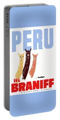 Braniff Airways Peru Llamas Travel Poster Portable Battery Charger