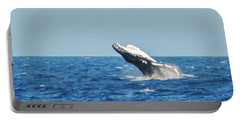 Portable Battery Charger featuring the photograph Breaching Humpback Off Bermuda by Jeff at JSJ Photography