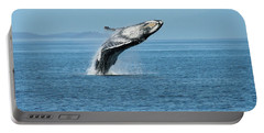 Portable Battery Charger featuring the photograph Breaching Humpback Whales Happy-3 by Steve Darden