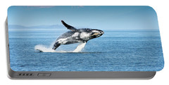 Portable Battery Charger featuring the photograph Breaching Humpback Whales Happy-4 by Steve Darden