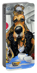 Breakfast At Tiffany's Basset Hound Caricature Art Print Portable Battery Charger