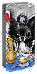 Breakfast At Tiffany's Papillon Caricature Art Print Portable Battery Charger