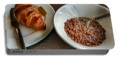 Breakfast Of Cereal And Croissant Portable Battery Charger by Isabella F Abbie Shores FRSA