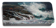 Portable Battery Charger featuring the painting Breaking Wave by Michele A Loftus