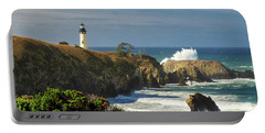 Breaking Waves At Yaquina Head Lighthouse Portable Battery Charger