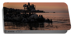 Portable Battery Charger featuring the photograph Breakwater Sunset by Suzanne Luft