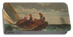 Portable Battery Charger featuring the painting Breezing Up A Fair Wind - 1876 by Winslow Homer
