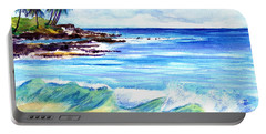 Portable Battery Charger featuring the painting Brennecke's Beach by Marionette Taboniar