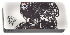 Portable Battery Charger featuring the drawing Brett Keisel by Jeremiah Colley