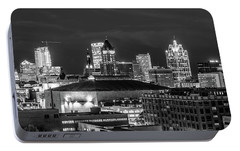 Portable Battery Charger featuring the photograph Brew City At Night by Randy Scherkenbach