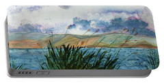 Brewing Storm Over Lake Watercolor Painting Portable Battery Charger