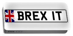 Brexit Number Plate Portable Battery Charger by Roger Lighterness