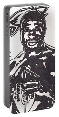 Portable Battery Charger featuring the drawing Brian Westbrook by Jeremiah Colley