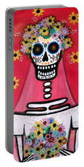 Portable Battery Charger featuring the painting Bridezilla Dia De Los Muertos by Pristine Cartera Turkus