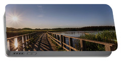 Portable Battery Charger featuring the photograph Bridge Across Shining Waters by Chris Bordeleau