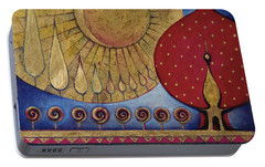 Portable Battery Charger featuring the painting Bridge Between Sunrise And Moonrise by Anna Ewa Miarczynska