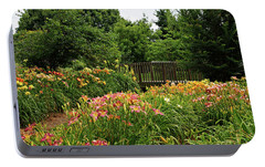 Portable Battery Charger featuring the photograph Bridge In Daylily Garden by Sandy Keeton