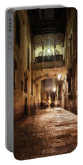 Bridge In Gothic Quarter Of Barcelona At Night Portable Battery Charger