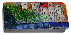 Bridge On The Saone River - Lyon France - Palette Knife Oil Painting By Mona Edulesco Portable Battery Charger