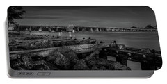 Portable Battery Charger featuring the photograph Bridge To Longboat Key In Bw by Doug Camara