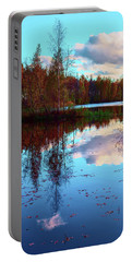 Bright Colors Of Autumn Reflected In The Still Waters Of A Beautiful Forest Lake Portable Battery Charger