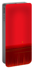 Bright Red Sunset Landscape Portable Battery Charger by Val Arie
