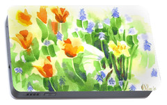 Portable Battery Charger featuring the painting Brightly April Flowers by Kip DeVore