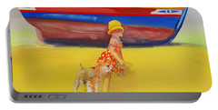 Brightly Painted Wooden Boats With Terrier And Friend Portable Battery Charger by Charles Stuart
