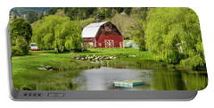 Brinnon Washington Barn By Pond Portable Battery Charger by Teri Virbickis