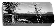 Bristle Cone Pines With Divide Mountain In Black And White Portable Battery Charger