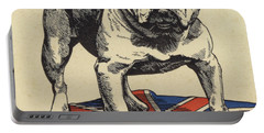 British Bulldog Standing On The Union Jack Flag Portable Battery Charger