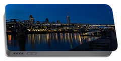 British Symbols And Landmarks - Millennium Bridge And Thames River At Low Tide Portable Battery Charger