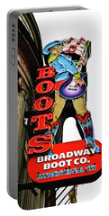 Broadway Boot Neon Sign Portable Battery Charger by Tony Grider